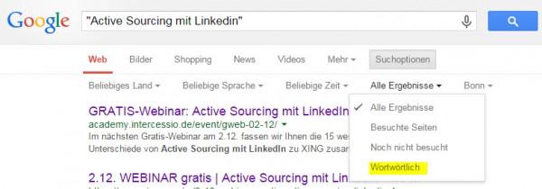 Active Sourcing Tricks und Hack mit Google - wortwörtliche Suche