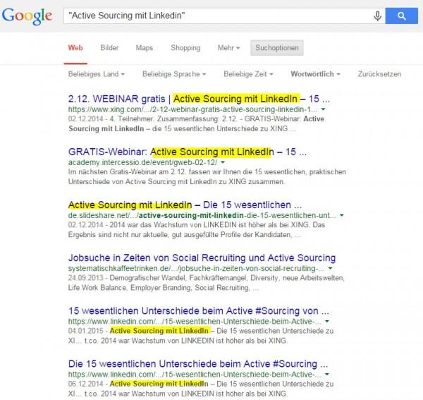 Active Sourcing Tricks und Kniffe mit Google - Suchergebnisse verstehen