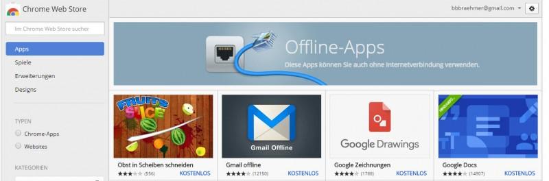 Apps- 10 praktische Tipps für Google Chrome - Offline Apps im Chrome Web Store