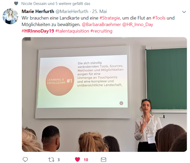 HR-Inspiration auf dem HR Innovation Day 2019 - Workshop moderne Talent Acquisition Tools mit Barbara Braehmer