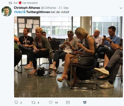 HR Netzwerken 4.0 – Die Twitter Göttinnen bei der Arbeit – HR Barcamp Wien 2018 -1