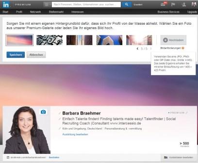 LinkedIn Header-neue Einstellung Bildvorschläge