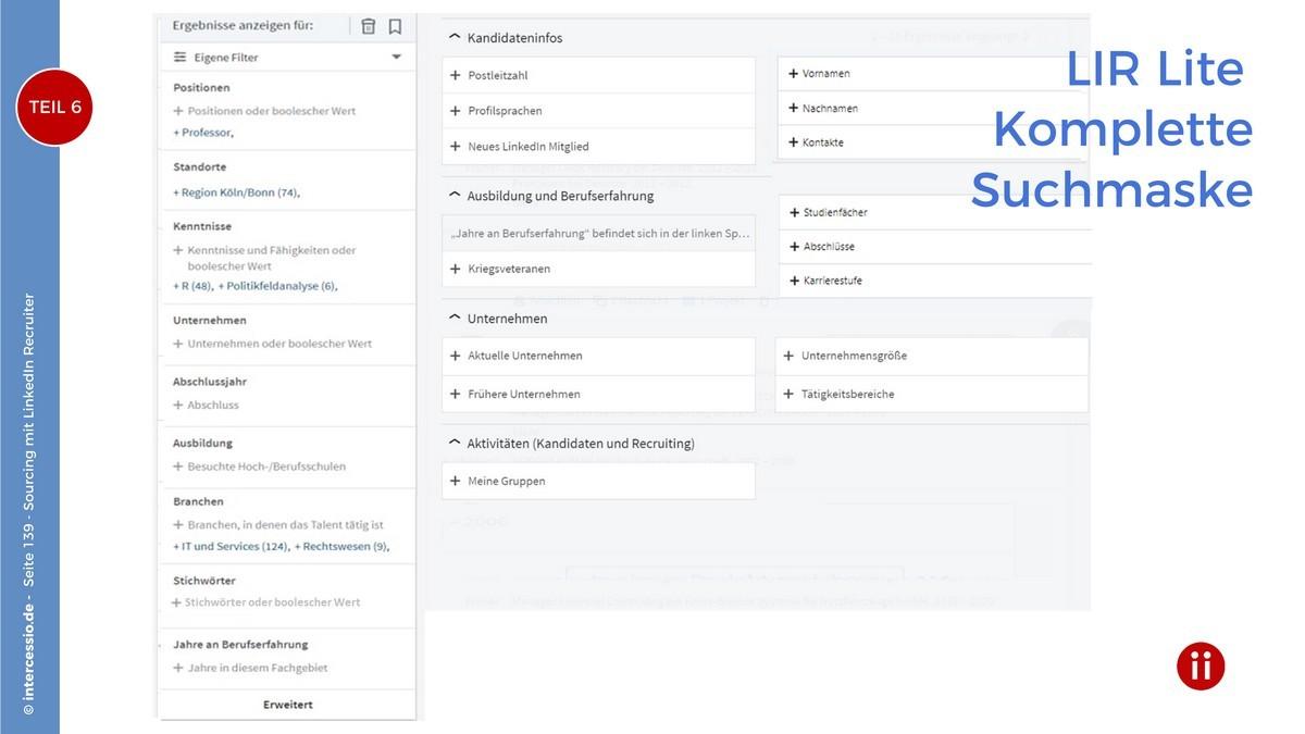 LinkedIn Recruiter - Komplette Suchmaske des LinkedIn Recruiters Lite