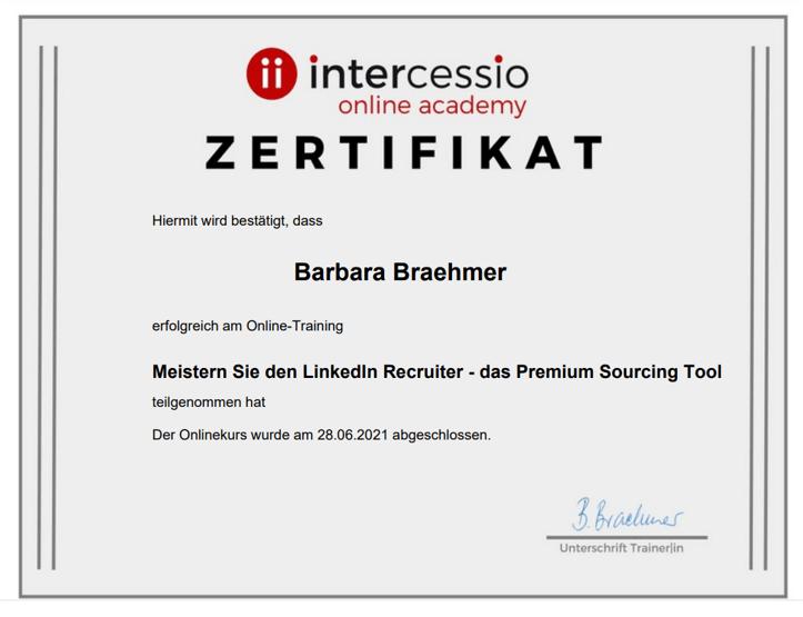 Linkedin Recruiter Sourcing Workshop - Zertifikat