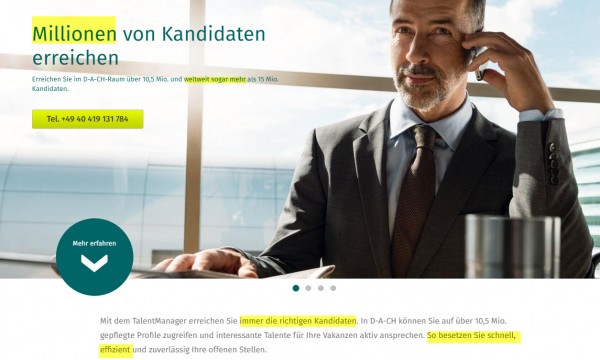 Temporausch im Social Recruiting-Screenshot XING-Talentmanager