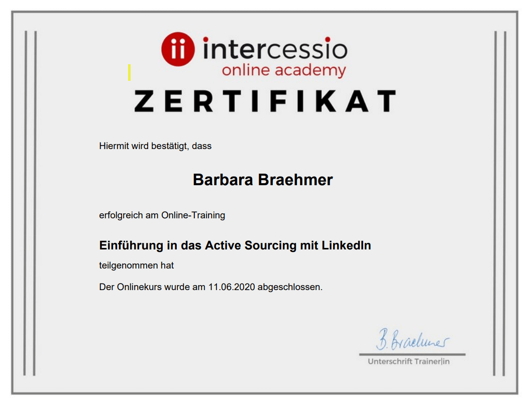 Zertifikat - Einführung in das E-Learning